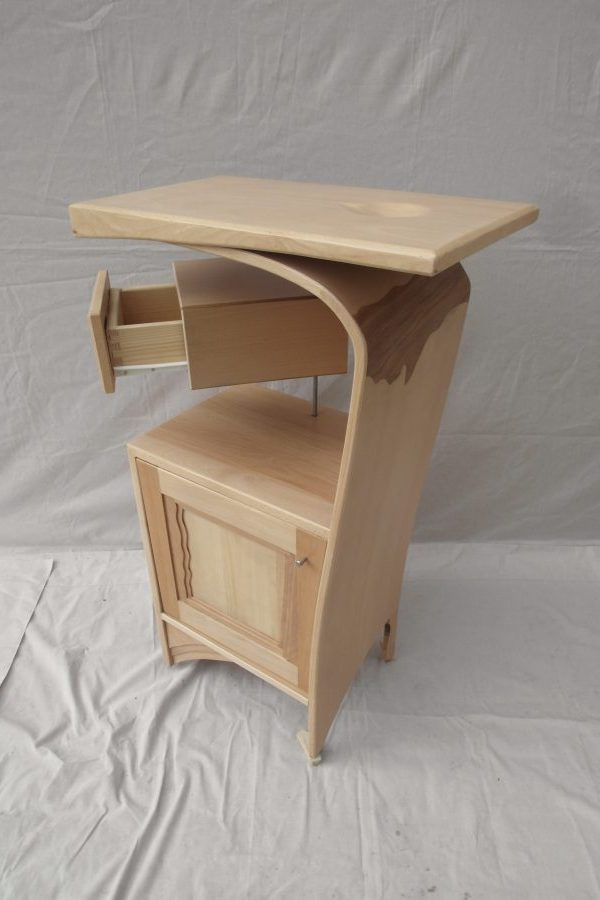 Mueble recibidor en madera de haya con incrustaciones en hoja de secoya - Mueble recibidor madera ...