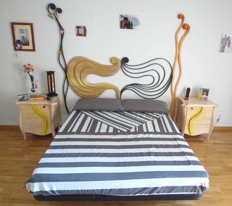 dormitorio en madera y forja